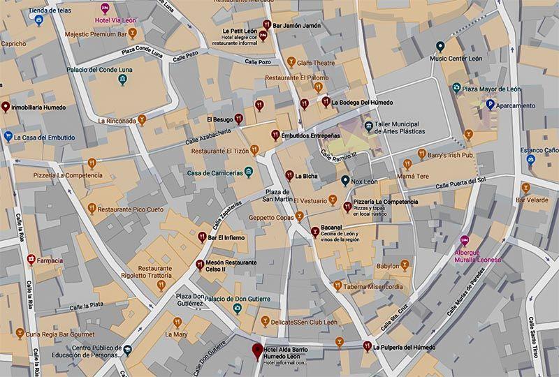 Barrio Humedo Leon Mapa.Donde Comer En Leon