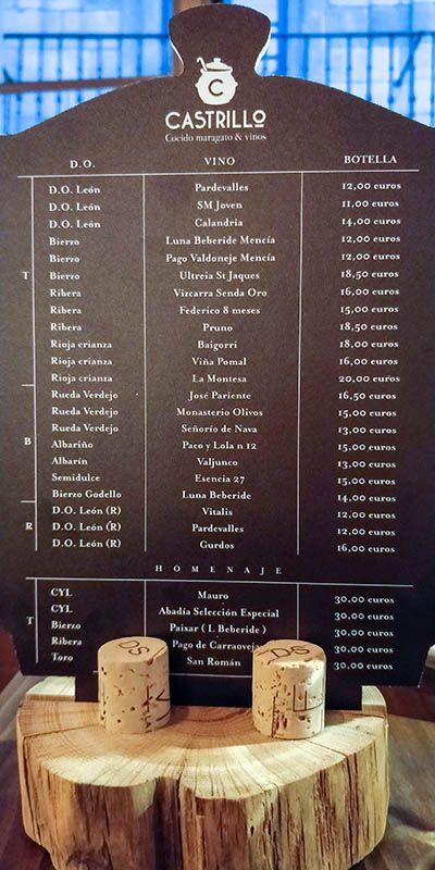 restaurante castrillo leon carta de vinos